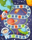 Gra planszowa z kosmonauta, ufo, rakietą, planetą i gwiazdami, ilustracja wektor