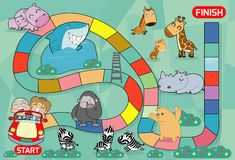 Gra planszowa z zoo, ilustracja gra planszowa z zoo tłem żartuje zoo zwierzęta gry planszowa, dziecko gemowa wektorowa ilustracja royalty ilustracja