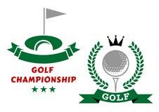 Grać w golfa mistrzostwo odznaki lub emblematy Zdjęcie Stock