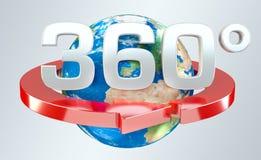 360 graad 3D geef pictogram terug Stock Foto