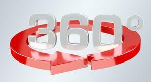 360 graad 3D geef pictogram terug Stock Foto's
