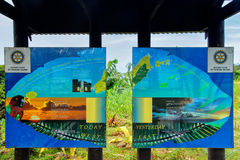 180-graad de Hoogste Internationale raad van de Datumlijn dichtbij Waiyevo o Royalty-vrije Stock Fotografie