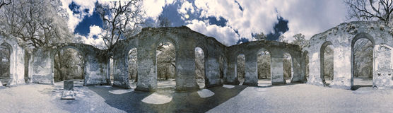 infrarode foto 360 van kerkruïne Stock Afbeelding