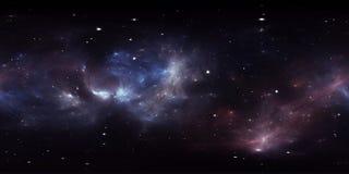 360 graad interstellaire wolk van stof en gas Ruimteachtergrond met nevel en sterren Gloeiende nevel, equirectangular projectie, vector illustratie
