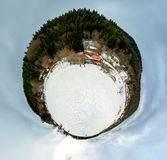 360-graad mening van sneeuwgebied, de winterdag Royalty-vrije Stock Fotografie