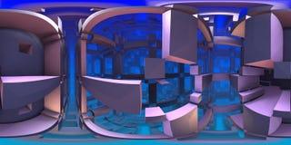 360 graadlabyrint, abstract labyrintpanorama als achtergrond, equirectangular projectie, milieukaart vector illustratie