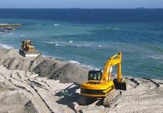 Graafwerktuig en bulldozer Stock Afbeelding