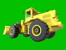 Graafwerktuig op een groene eenvormige achtergrond Backhoe Lader 3D Illustratie Royalty-vrije Stock Afbeelding