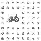 Graafwerktuigpictogram Bouw en Hulpmiddelen vector geplaatste pictogrammen stock illustratie