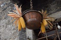 Graan in oud stadsdorp Rango Trentino, selectie één van het mooiste dorp in Italië Stock Afbeeldingen