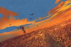 Graangebied met vogelverschrikker en zonsonderganghemel vector illustratie