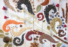 Graangewassen, bonen en zaden Stock Foto's