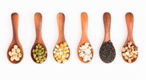 Graangewassen gezond gewas met graan, slabonen, sojaboon, sesam mil stock fotografie