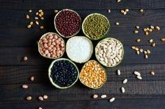 Graangewassen, gezond voedsel, vezel, proteïne, anti-oxyderende korrel, royalty-vrije stock foto's