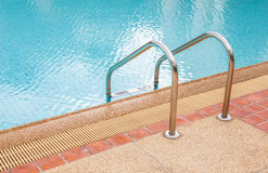 Grab bars ladder in the blue swimming pool Royalty Free Stock Photo