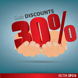 Grab discounts. Hands hold 30 percent discount.. Vector banner discount of 30 percent. EPS 10 Royalty Free Stock Photos