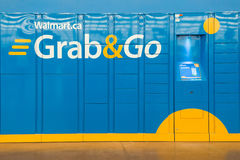 Grab and Go Lockers in Wallmart Superstore Stock Photos