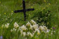 Grab mit Kreuz lizenzfreie stockbilder