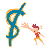 Grab money cartoon concept Royalty Free Stock Photo