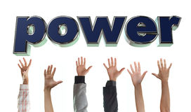 Grab the power. Hands are grabbing the power letters Stock Image