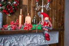 Graba dekorująca z Bożenarodzeniowym wystrojem Lala w zimie odziewa fotografia royalty free
