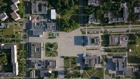 Grabación aérea del paisaje urbano de Slavutych almacen de metraje de vídeo