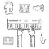 Grabación de sonidos y bosquejo de los iconos de la música Imagen de archivo