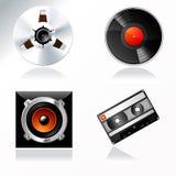 Grabación de sonidos y dominar el conjunto del icono del vector Fotografía de archivo