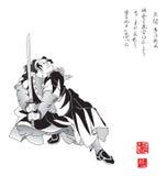 Grabado con el samurai Imagen de archivo libre de regalías