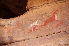 Grabado de la roca, Libia Imagen de archivo libre de regalías