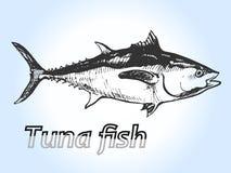 Grabado de los pescados de atún Fotografía de archivo libre de regalías