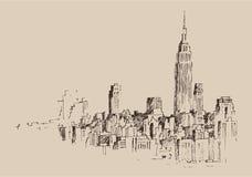 Grabado de New York City stock de ilustración