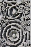 Grabado de piedra floral de Medievel Fotografía de archivo