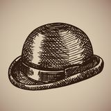 Grabado del jugador de bolos La ropa retra comenzó el siglo XX Fotografía de archivo libre de regalías