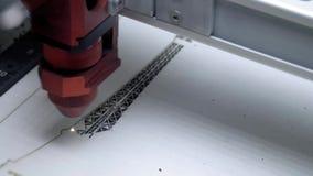 Grabado del laser en la madera Imagen ardiendo de la m?quina de grabado del laser en el primer de madera del tablero Cortadora de almacen de video