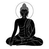 Grabado del vintage de Buda del vector con el ornamento retro Foto de archivo libre de regalías