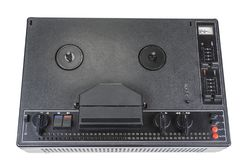 Grabadora magnética audio vieja de carrete a partir de años 70 Fotografía de archivo