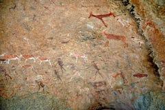 Grabados blancos de la roca de la señora en Brandberg Imagenes de archivo