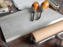 Grabar en madera Art Tools imagen de archivo libre de regalías