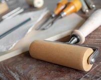 Grabar en madera Art Tools Fotos de archivo libres de regalías