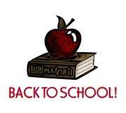 Grabar en madera de Apple y del libro -- De nuevo a escuela   Imágenes de archivo libres de regalías