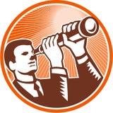 Grabar en madera de Holding Looking Telescope del hombre de negocios ilustración del vector