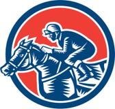 Grabar en madera de Horse Racing Circle del jinete retro libre illustration