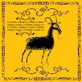 Grabar en madera de la escritura de la etiqueta de la cabra doméstica Foto de archivo