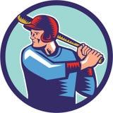 Grabar en madera del círculo del bateo del talud del jugador de béisbol ilustración del vector