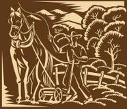 Grabar en madera del caballo de granja de Farming Plowing With del granjero ilustración del vector