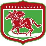 Grabar en madera del escudo de Horse Racing Side del jinete ilustración del vector