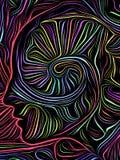 Grabar en madera del remolino de la mente ilustración del vector