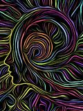 Grabar en madera del remolino de la mente stock de ilustración