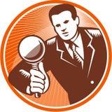 Grabar en madera del vidrio de Holding Looking Magnifying del hombre de negocios ilustración del vector